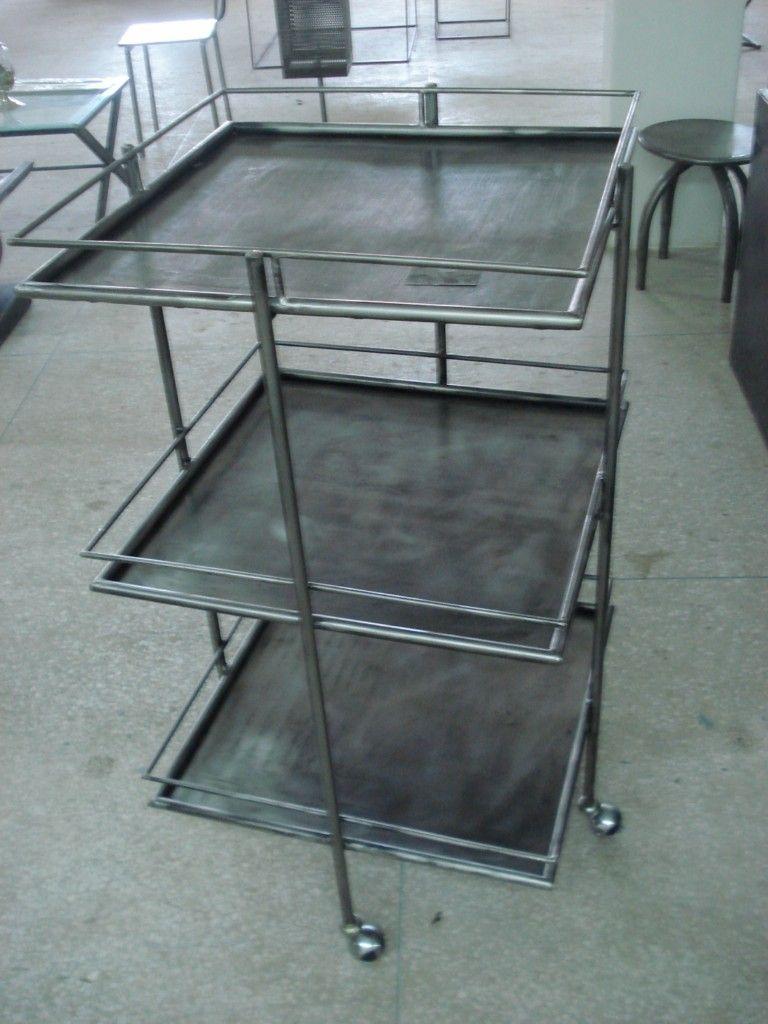 Desserte roullante meuble industriel for Desserte style industriel